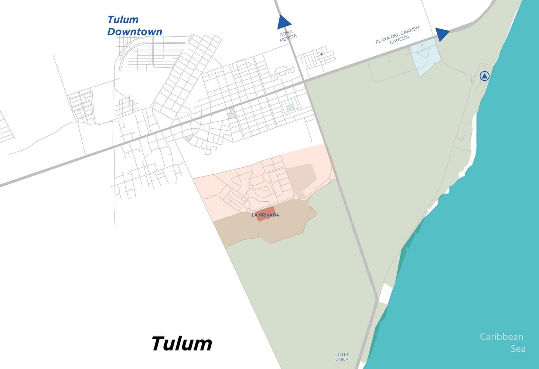 La Privada - Map location in Tulum